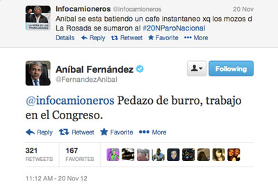 Aníbal Fernández's acerbic wit on display.