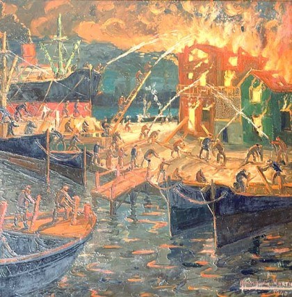 Fire on the docks on La Boca, Quinquela Martín.