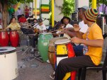 Movimiento Afrocultural drum circle in their patio. (Photo courtesy of Movimiento Afrocultural)