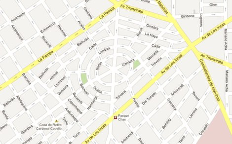 The circular streets of Parque Chas via Google Maps.