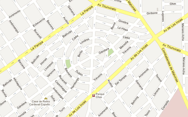 The circular streets of Parque Chas via Google Maps.