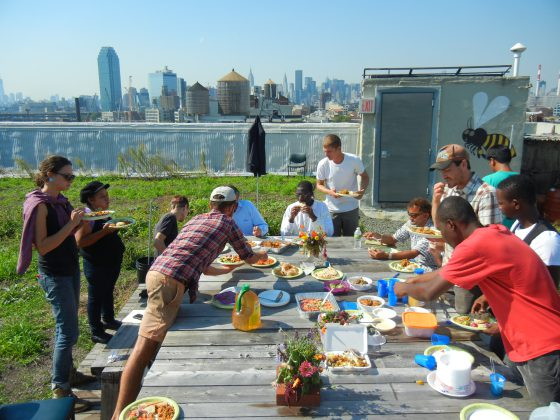 RIF participants and Brooklyn Grange staff enjoying lunch together.