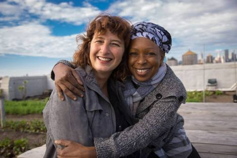 RIF founder Maria Blacque-Belair at the farm with Madame Barry, a former program participant. (photo: Koray Ersin)